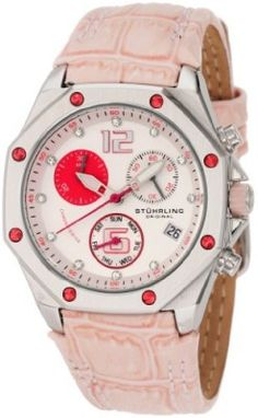 Relógio Stuhrling Original Women's 231CR.1115A80 Aquadiver Nemo Swiss Quartz Chronograph Swarovski Crystal Date Pink Leather strap Watch #Relogio #StuhrlingOriginal