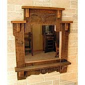 Traditional western design has met a rustic twist with the metal longhorn and Texas star accents. Longhorn ranchers will appreciate the shelf along the bottom of the mirror for quick and easy storage of bathroom necessities after a long day out on the ranch. Made in the USA from reclaimed barnwood.
