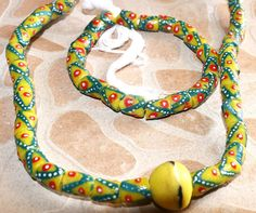 African Reycled Beads Krobo Beads necklace aand by AfrowearHouse
