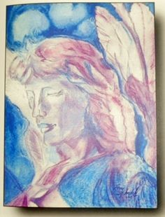 'Blue Angel' watercolor and acrylic lstilnovich 5x7