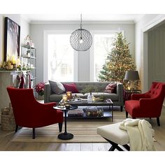 Aidan sofa, Tess chairs in Cherry, X-base bench, Hoyne pendant, Kyra coffee table. | Crate and Barrel Holiday 2013  --I love this holiday Furniture photo. --aw--