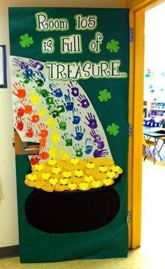 St. Patrick's Day Door Display and Bulletin Board Idea