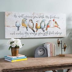 The lovely birds and meaningful message will stick out with our Under His Wings Canvas Art Print. The watercolor look on the birds completes this piece. Cow Canvas, Wall Canvas, Canvas Art Prints, Quote Canvas Art, Canvas Pictures, Affordable Art, Bird Art, Painting On Wood, Wall Art Decor