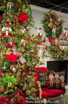 See the video of this tree design at Shelley B Home and Holiday. This Christmas tree is decorated with red and green nutcracker themed ornaments.  Make your own tree in this theme, visit our website for items found on this tree! Shelley B Home and Holiday http://shelleybhomeandholiday.com/shop-by-brand/raz-imports/raz-christmas/raz-christmas-2015/raz-merry-merry-merry/
