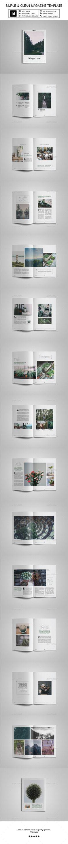 Simple & Clean Magazine Template VI - #Magazines Print #Templates