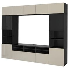 BESTÅ TV storage combination/glass doors, walnut effect light gray, Selsviken high gloss/white clear glass, 118 Get it here! Tv Storage Unit, Media Storage, Storage Spaces, Shelving Units, Tv Units, Ikea Tv, Ikea Wall Units, Besta Tv Bank, Tv Bench