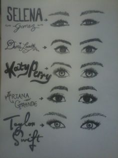 Famous eyes..I pinned a picture that looked like this, so I decided to try and draw it and make it my own, by adding the eyes of Ariana Grande and also by drawing each of the popstars' logo next to their eyes.