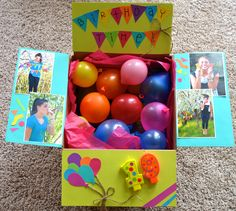 Birthday package idea! Blew up little baloons to make it a little party in the box!