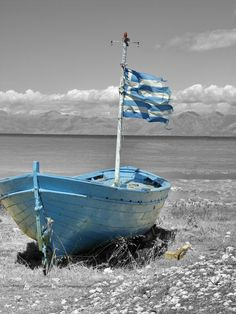 Blue boat, Corfu, Greece by Jørn Berg Lund Color Splash, Color Pop, Color Blue, Myconos, Blue Boat, Cottages By The Sea, Blue Dream, Sail Away, Albania