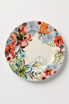 inspiration: this vibrant floral pattern arranged similarly as on this plate to be a page border ~ sissinghurst castle dinnerware