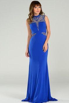 Ornate Beaded Prom Dress PY7292 Floor Length Sheath Shape Prom and Evening Dress has High Neckline, Gemstone and Jewel Hand Beaded Bodice with Round Cutout on Beaded Mesh Back, Zipper Closure, Long Skirt with Train. https://www.smcfashion.com/wholesale-prom-dresses/ornate-beaded-prom-dress-py7292