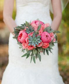 Peony, rose, and succulent bouquets