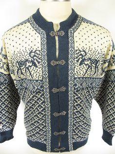 Nordstrikk Norway Scandinavian Wool Reindeer Pewter Button Cardigan Sweater M | eBay