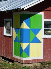 ** mama ** Interesting idea for placement~~Barn Quilts and the American Quilt Trail: December 2010 Barn Quilt Designs, Barn Quilt Patterns, Quilting Designs, Country Barns, Old Barns, Rustic Barn, Barn Wood, Painted Barn Quilts, Barn Signs