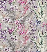 A loosely-painted artistic interpretation of tropical flowers and vegetation digitally printed for maximum impact.