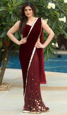 Actress Zarine Khan Dark Brown Colour Velvet Saree and Backless Sleeveless Matching Blouse. Velvet Saree Golden Colour Border and Botam on. Zarine Khan, Bollywood Saree, Bollywood Fashion, Saree Fashion, Bollywood Actress, Saris, India Fashion, Asian Fashion, Indian Dresses