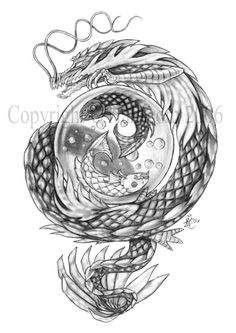 Dragon with Koi by ~Aerin-Kayne