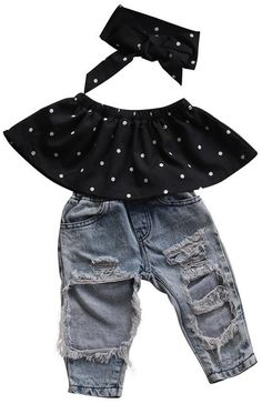 Funky little outfit for your little girl to rock Polka dot top + Matching headband + Distressed jeans Trendy and memorable Picture her in this perfect outfit Cute Baby Girl Outfits, Toddler Girl Outfits, Toddler Fashion, Toddler Dress, Kids Outfits, Kids Fashion, Baby Girls, Toddler Girls, Latest Fashion