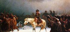 «La retraite de Moscou», d'Adolph Northen.  19 Octobre 1812 : Six jours après la chute de la première neige et l'arrivée d'un rude Hiver avec trois à quatre semaine d'avance, c'est le début de la retraite de Russie : 95 000 poilus et 40 000 auxiliaires et employés prennent la route, dévastée à l'allée, en bon ordre. A partir du 7 Novembre, la température tombe en dessous de -30°. Le 19 Novembre, Ney laisse plus de 2000 hommes au passage de Krasnoie.
