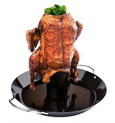 Rezept für ein süß-sauer-scharfes Bierdosenhähnchen vom Grill, nach Jamie Oliver. Das Hähnchen wird mit einer selbst gemachten Gewürzmischung eingerieben, wird später mit Barbecue-Sauce bestrichen und etwas über eine Stunde gegrillt.