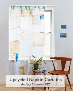 Learn how to transform mismatched vintage linens into the prettiest sheer curtain panels with this original Etsy tutorial. #DIY