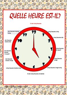Quelle heure est-il? Study French, French Kids, Learn French, French Flashcards, French Worksheets, French Expressions, French Teaching Resources, Teaching French, French Language Lessons