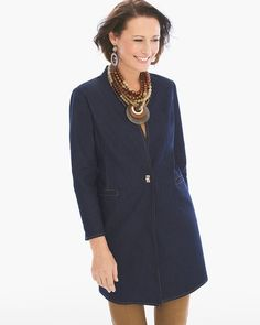 """Rich indigo hues reimagine the dress code in this collarless duster jacket with impeccable tailoring and a comfortable 360° stretch.   Bracelet sleeves.   Button closure.   Front pockets.   Regular length: 34"""".   Petite length: 32"""".   Cotton, polyester and spandex.   Machine wash. Imported."""