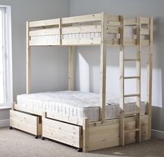 Emmett Single Bunk Bed with Drawers Harriet Bee Bunk Beds With Drawers, Bunk Beds With Storage, Cool Bunk Beds, Bunk Beds With Stairs, Kids Bunk Beds, Bed Storage, Storage Drawers, Triple Sleeper Bunk Bed, Triple Bunk Beds