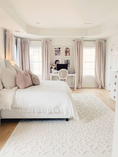 Romantic master bedroom with white tufted bed, linen duvet, soft curtains and wh. Romantic master bedroom with white tufted bed, linen duvet, soft curtains and white Orian rug Romantic Master Bedroom, Master Bedroom Makeover, Stylish Bedroom, Bedroom Makeovers, Master Suite, Master Room, Beds Master Bedroom, Feminine Bedroom, Romantic Bedrooms