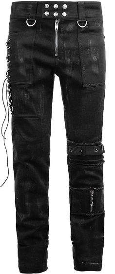 Black frayed denim pants by Punk Rave http://www.the-black-angel.com/gothic-pants-men/1284-black-denim-frayed-punk-rave.html