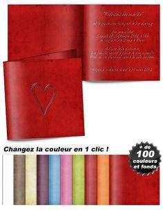 Modèle de faire-part mariage chic et traditionnel : Cœur argenté posé sur fond rouge Ainsi, Couple, Red Background, Silver, Fresh, Couples
