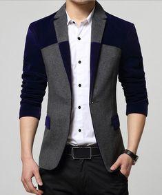 Blazer Masculino Azul Slim Fit Univos kuni Shopping City Jaqueta Social  Masculina 5f66f9e00a95c