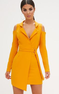 Buy Mustard Cold Shoulder Blazer Dress with latest discounts. Discover similar SALE items! Chic Outfits, Spring Outfits, Fashion Souls, Short Dresses, Dresses For Work, Dresses Dresses, Dresses Online, Mustard Dressing, Tuxedo Dress