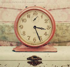 vintage pink clock shabby chic [bamboo console along one wall?] an idea for my bedroom lamps pink and white wreath