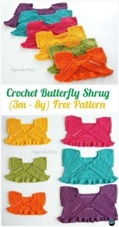 Crochet Butterfly Shrug - Free Pattern - Kid's Sweater Coat Free Patterns Crochet Kids Sweater Coat Free Patterns: Crochet Girls & Boys Sweaters, Cardigans, shrugs, and more sweater coats with patterns and inspirations. Crochet Baby Poncho, Gilet Crochet, Baby Girl Crochet, Crochet Baby Clothes, Crochet For Kids, Crochet Stitches, Baby Knitting, Crochet Baby Dresses, Crochet Shrugs