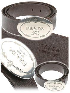 Prada Belt (Men\u0026#39;s Pre-owned White Textured Leather Rectangular ...