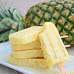 Pina colada  2 cups fresh sweet pineapple chunks (about 12 oz) 1 (15-oz) can sweetened cream of coconut (like Coco Lopez) 1 cup pineapple juice 2 Tbsp fresh lime juice Pinch of salt Puree ingredients in a blender until smooth and transfer mixture to a large glass measure or pitcher. Pour into 10 3-oz pop molds and insert sticks. Freeze at least 24 hours before unmolding.