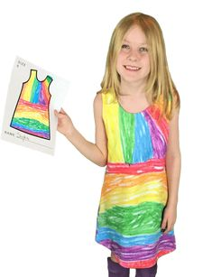 Kids design their dresses hands-on. Parents send us a picture of the art. We send back your custom cut-and-sew dress!
