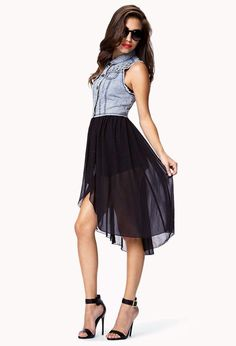 A denim vest combo dress featuring a studded yoke. Basic collar. Five-button placket. Frayed arm ...