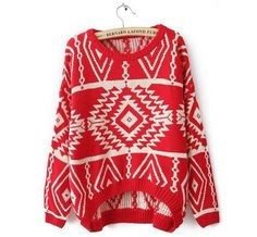Womens Knitted Bop Geometric Pattern Casual Loose Pullover Sweater Outwear Tops | eBay
