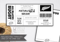 All Blacks Birthday Invitation  Rugby Birthday Party  All