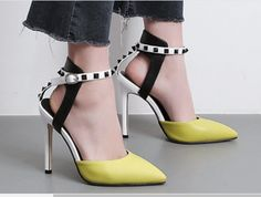 Patchwork Stiletto Ankle Strap Sandals