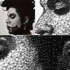 #thepurplestream : TRIBUTE by LESLIE DU PLESSIS : Prince String Art Portrait, illustrated on white wooden backboard, using upwards of 6500 steel nails and 2.2km of black string. One of a kind string & nail artwork in tribute to Prince and his contribution to music as a whole and our lives as a collective.