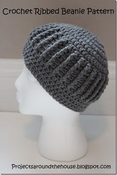 Projects Around the House: Crochet Ribbed Beanie - free pattern Like the use of a single color when you have stitch detail like this! (Flower version also)