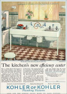 1928 Kohler deluxe kitchen sink with every possible convenience