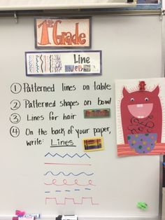 "Jamestown Elementary Art Blog: First Grade Line Monsters Collage from the book ""Lines that Wiggle!"""