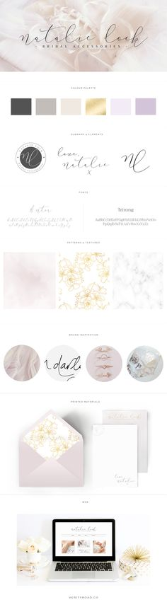 Brand style board for Natalie Lock Bridal | This luxury brand design board for a wedding bridal boutique business, wedding professional, shop owner and creative female entrepreneur has the logo, variation and submark, a muted lilac, ivory, gold, champagne, charcoal color palette with gorgeous script font and serif typography. Feminine branding includes watercolor texture, marble, and floral pattern. Click for mood board & social media branding and web design