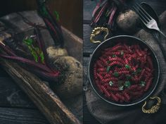 Dark and Moddy Beet pasta photo. I love dark and romantic food photos. Beet very good subject by color and texture. i love them