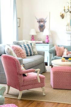A pastel-hued living room
