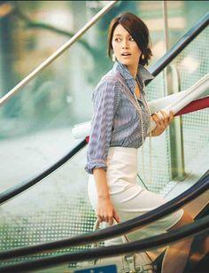 Khaki skirt or pants  with blue stripe shirt